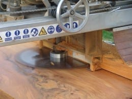 Perfect boards cut with pivoting swingblade Sawmills