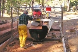 Steve Cannon milling with his WPF portable sawmill.