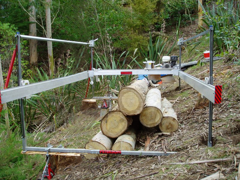 Peterson All Terrain Sawmill Set up on hillside