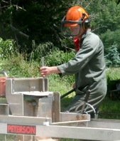 Chris Carter from Gisborne, NZ, with his sawmill.