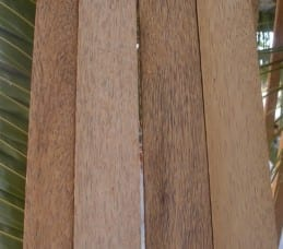 Dyna Lectric, Tahiti. Different grades of coconut timber boards.