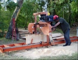 Alan Coyle using his Woodmiser Sawmill