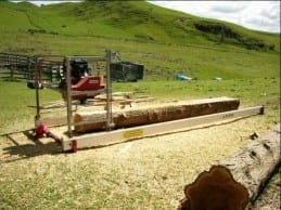Alan Coyle double cutting with the JP Sawmill during field testing