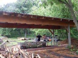 Russ in the Wilkins Tree Farm sawmill shed.