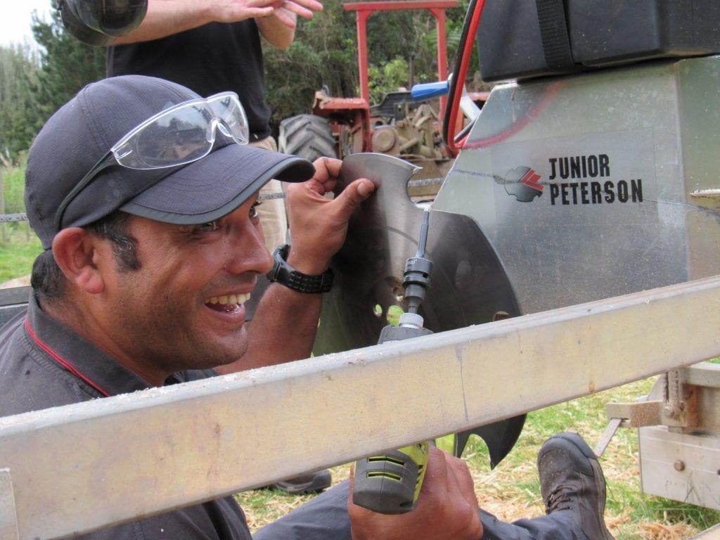 Mill specialist Aaron Kalan giving swingmill training