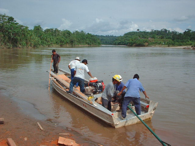 Portable Sawmill in a bamboo boat