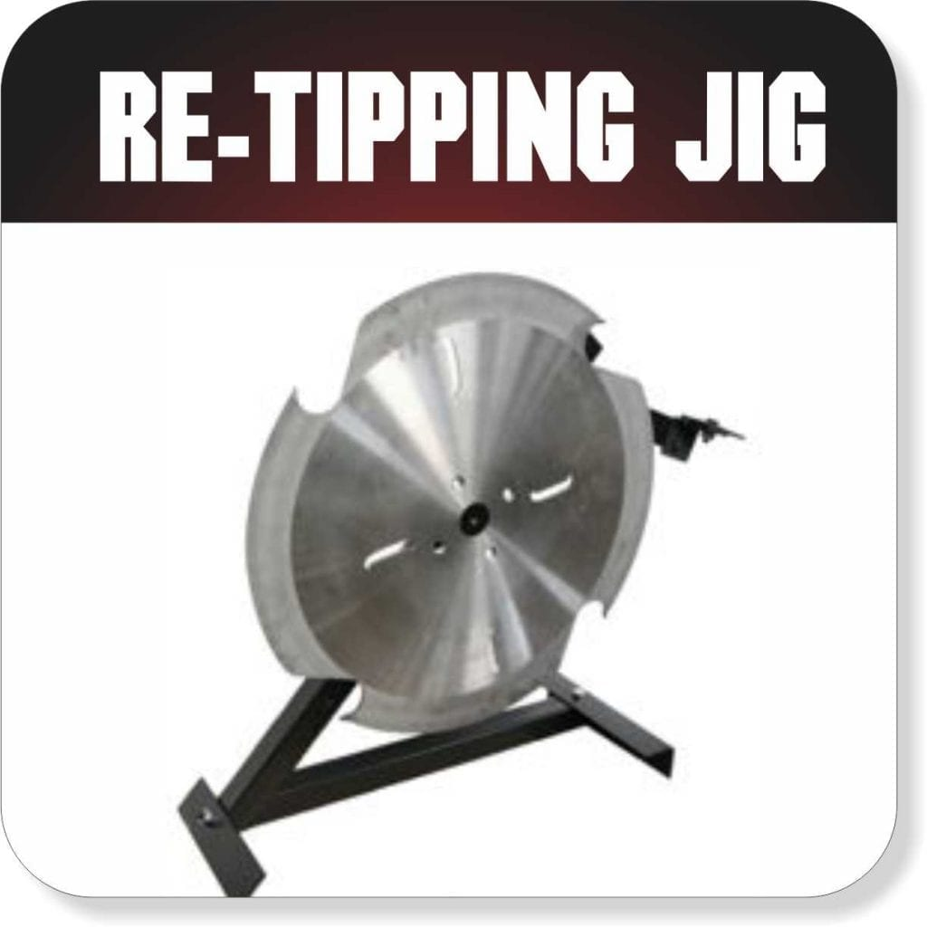Re-tip saw blades with the Peterson Re-Tipping Jig