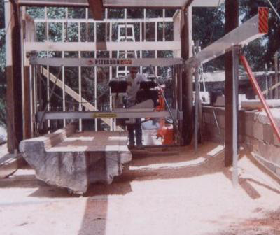 Roger Hicks's son operating his Peterson Sawmill.