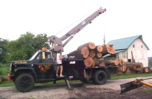 Mark & Tammy Allen taking a delivery of salvaged logs.