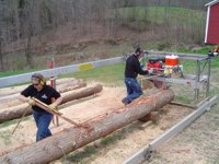 Craig Blake and wife Lorraine milling on the Peterson Sawmill at Demo Day.