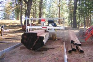 Steve Q. Cannon milling a giant log with his Peterson Sawmill.