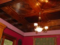 Stunning ceiling in Glenn Marquette's newly renovated house, using timber from his Peterson Sawmill.