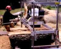 Timo Scheiber milling oversize log with his Peterson Sawmill.