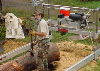 Jeff Sincell setting up to poplar log for milling with his Peterson Sawmill.