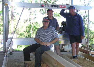 Chris Williams, with Colin, Jim & the Peterson WPF sawmilling Tallowood.