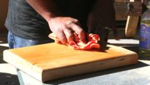 Rub oil into the finished chopping board for a great finish.