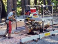 Jeff Meyer milling a Ruth Lake Maple log.