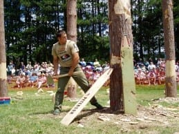 Nathan Waterfield chopping at a competition.