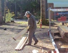 Within minutes of opening his shop door in the morning, Isaacs has his JP set up and is sawing dimensional lumber.