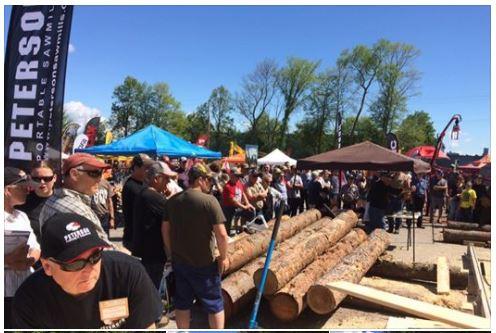 Peterson Portable Sawmills at Stand O16, SawTechLogExpo, Renfrew, Ontario.