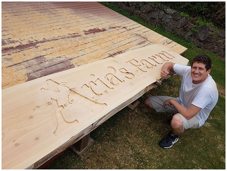 Michael Peterson from the Family Business - hand routed lettering for Aria's Farm