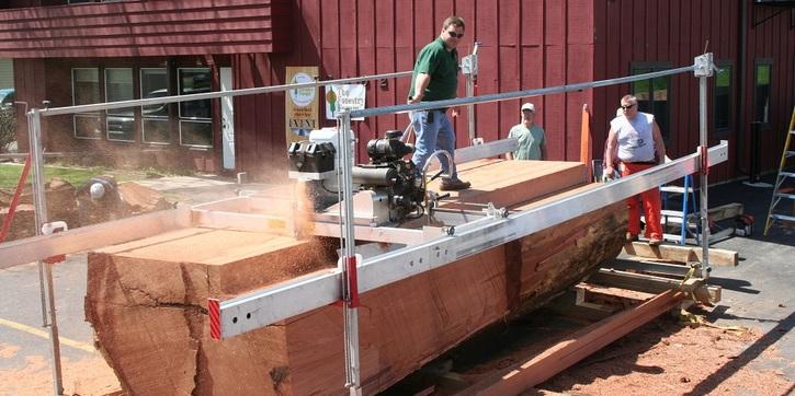 milling big redwood tree