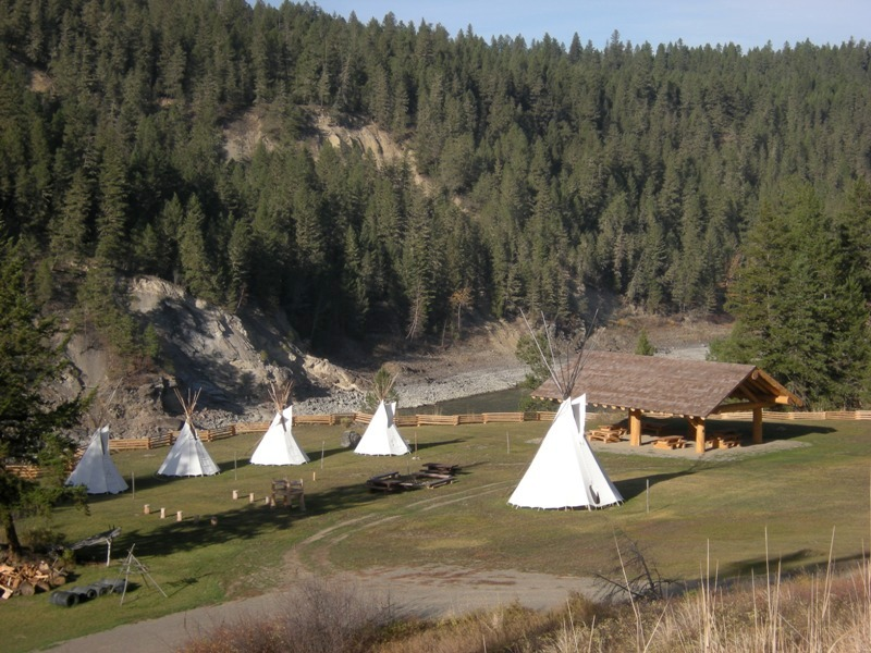 teepees and picnic area at xatsull heritage village